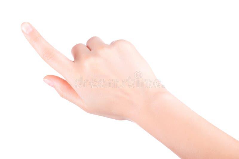 Перст женщины указывая или касатьясь стоковая фотография rf