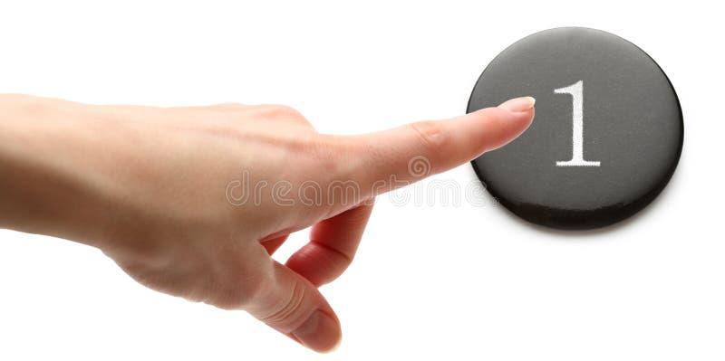 Перст нажимая кнопку стоковое изображение rf