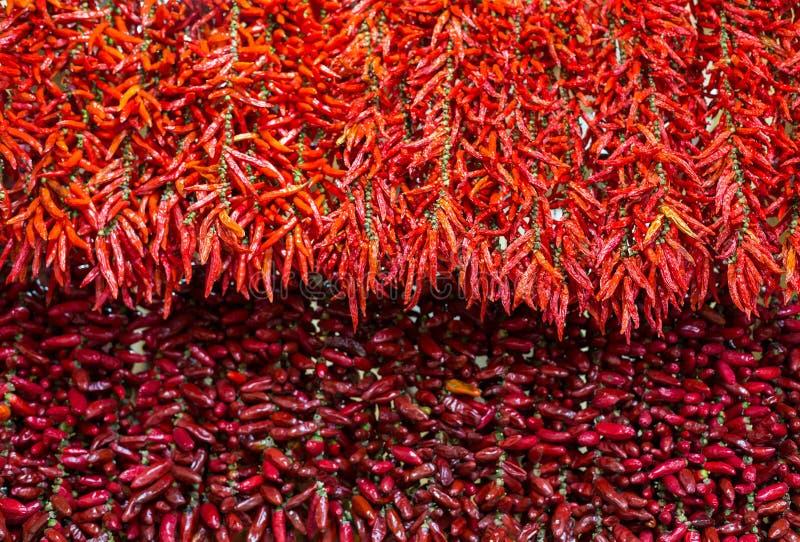 Перцы красного Chili на строке в Фуншале на Мадейре стоковое фото rf