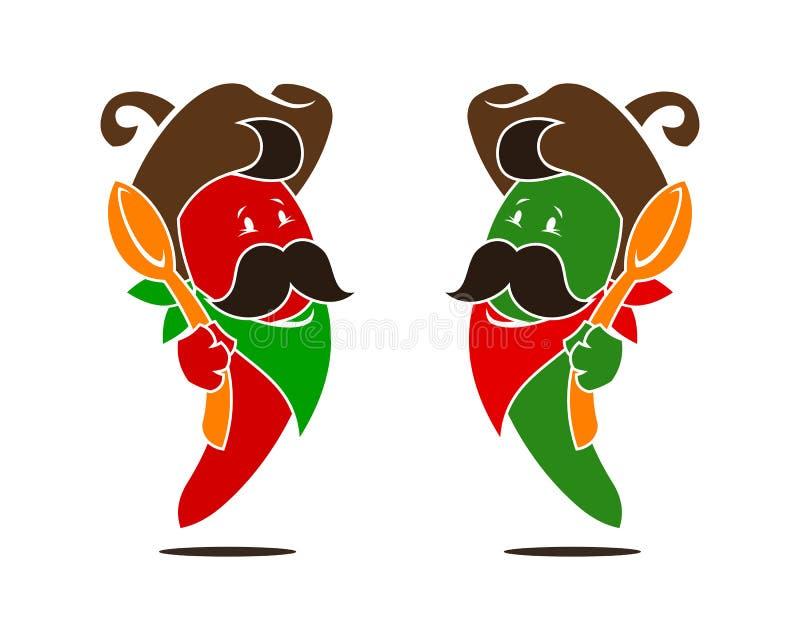 перцы chili зеленые красные иллюстрация штока