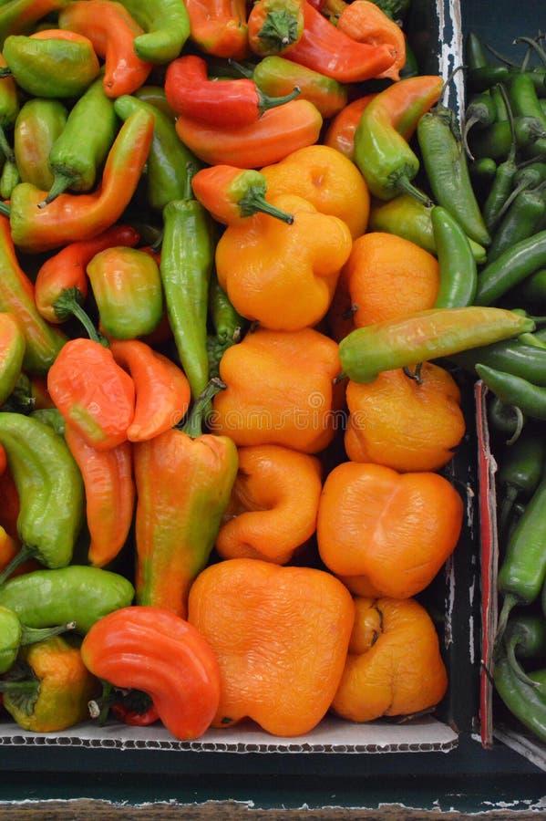 Перцы Chili на мексиканском рынке стоковые фотографии rf