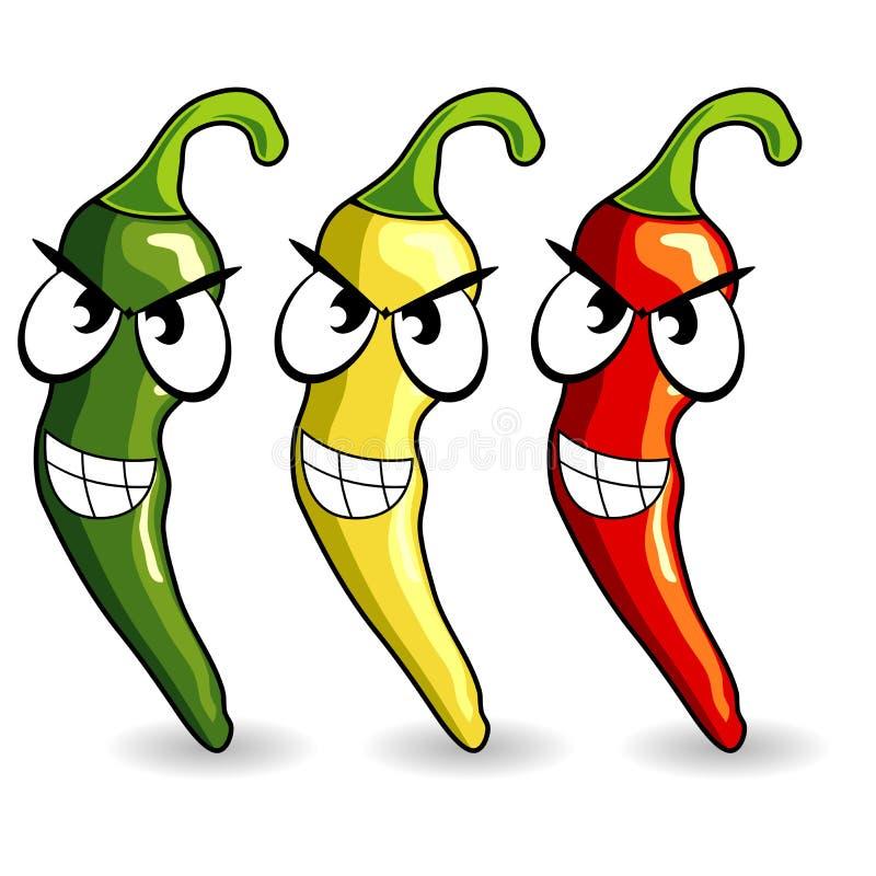 перцы chili смешные горячие мексиканские иллюстрация вектора