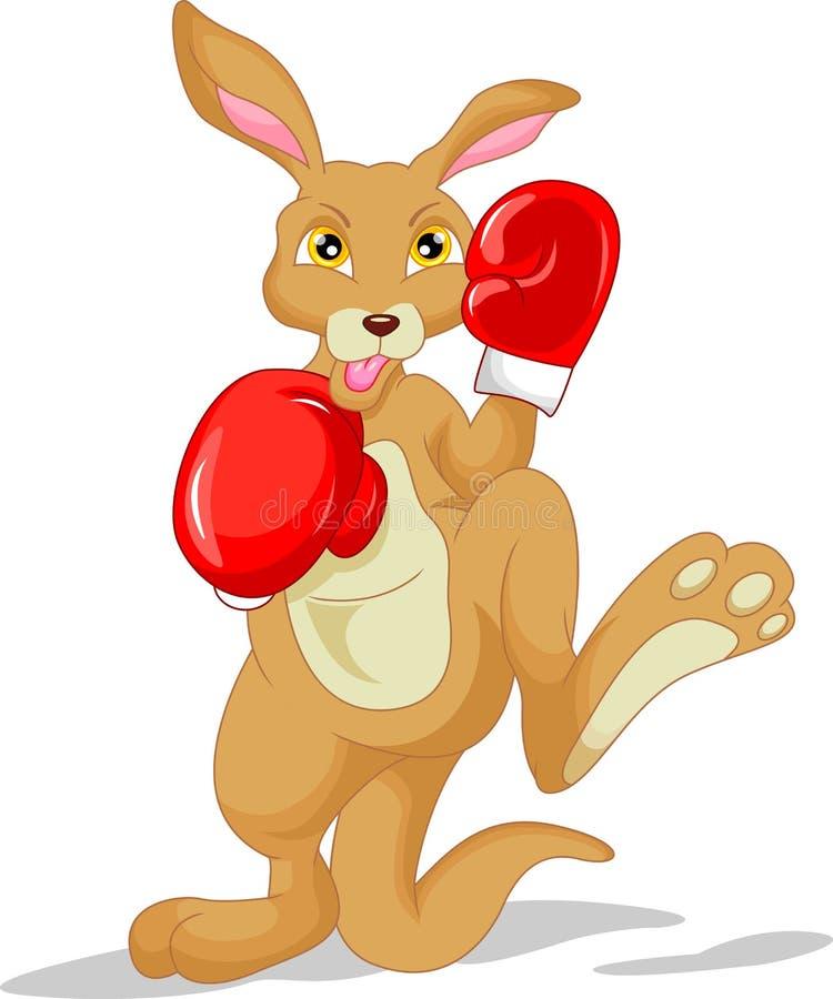 Перчатка бокса милого шаржа кенгуру нося иллюстрация вектора