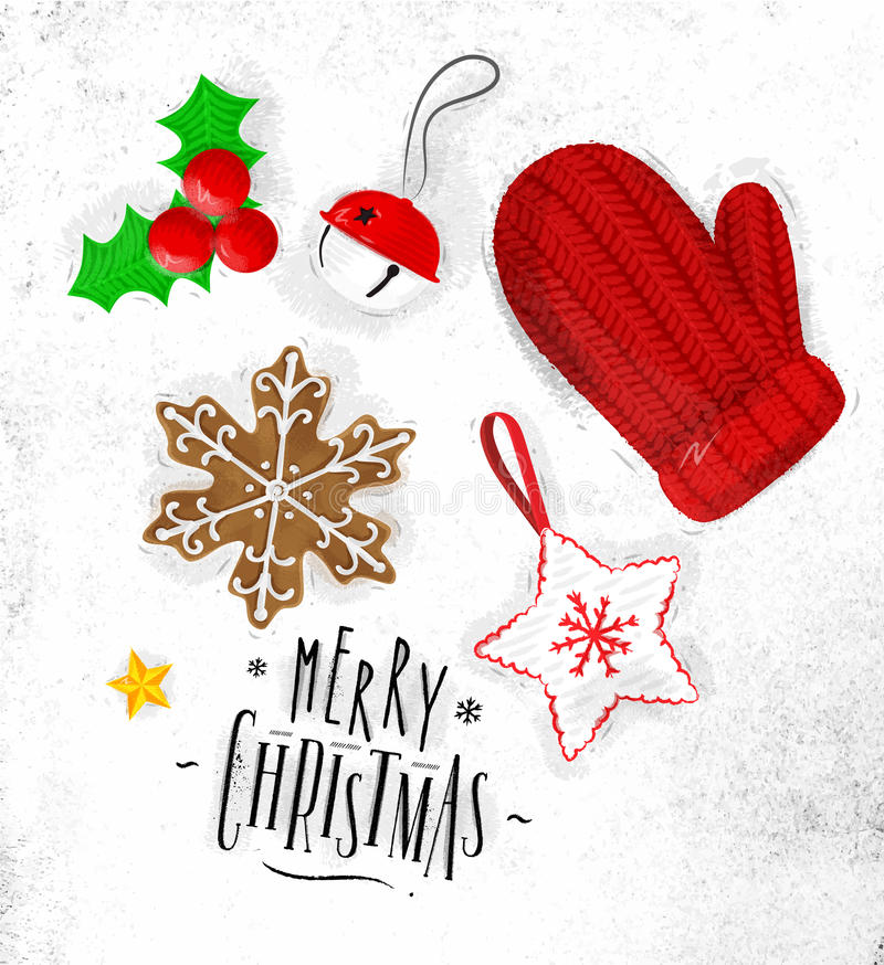 Перчатка элементов рождества бесплатная иллюстрация