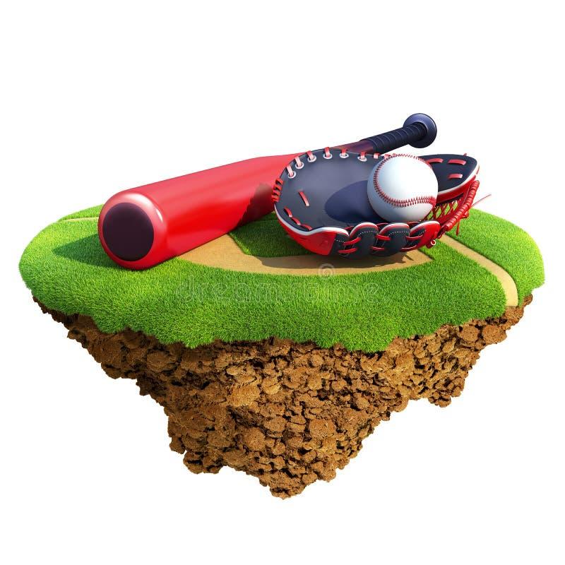 перчатка s перчатки улавливателя бейсбольной бита шарика иллюстрация вектора
