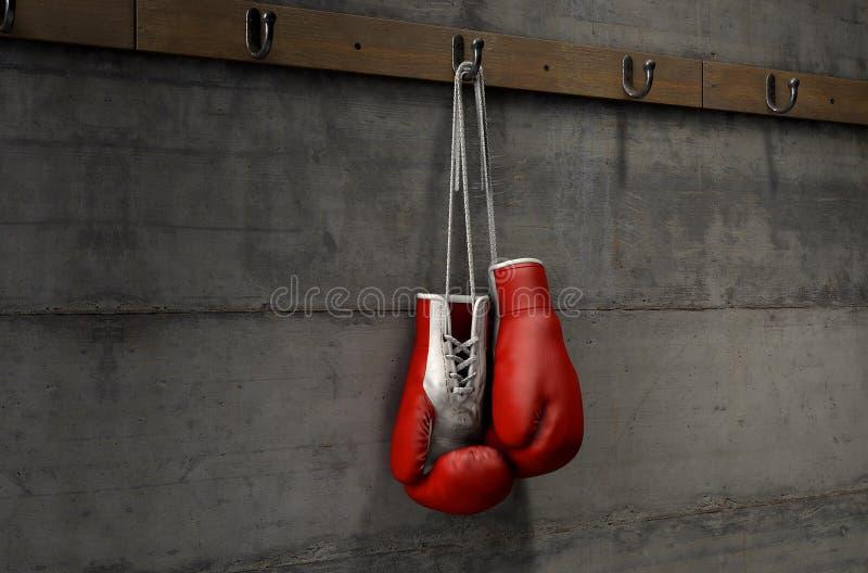 Перчатки бокса вися в комнате изменения иллюстрация вектора