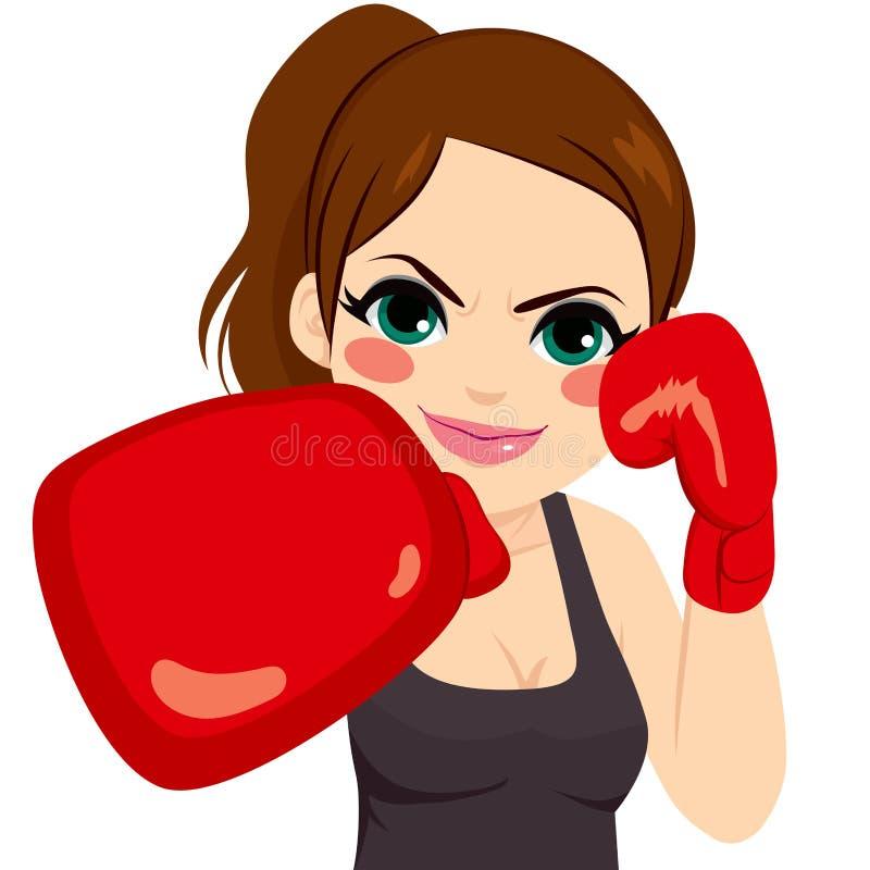 Перчатки бокса женщины иллюстрация штока