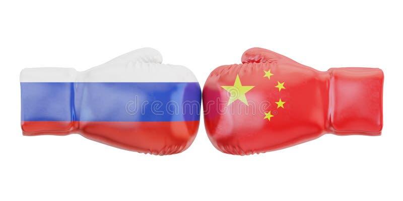 Перчатки бокса с флагами Китая и России Конфликт правительств иллюстрация штока