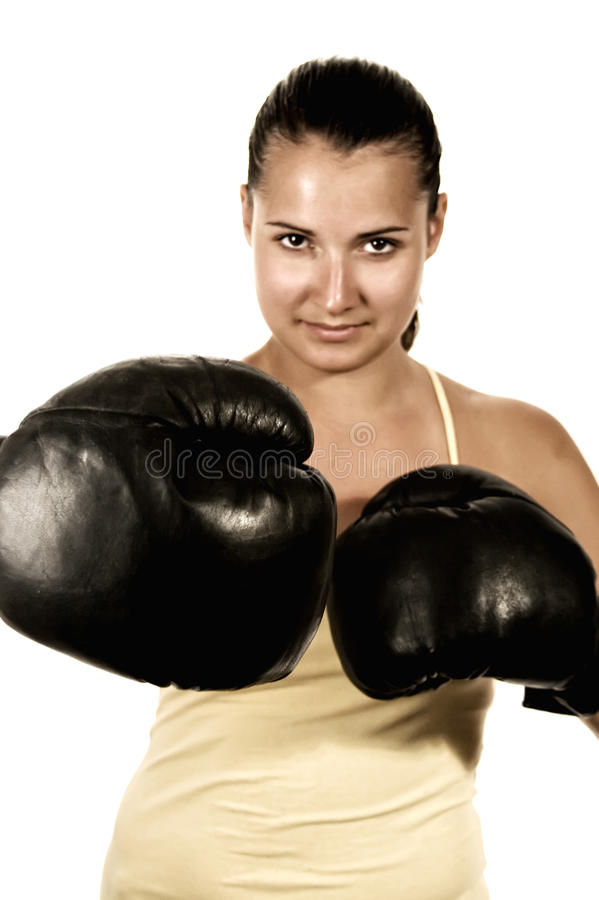 перчатки девушки бокса стоковое фото