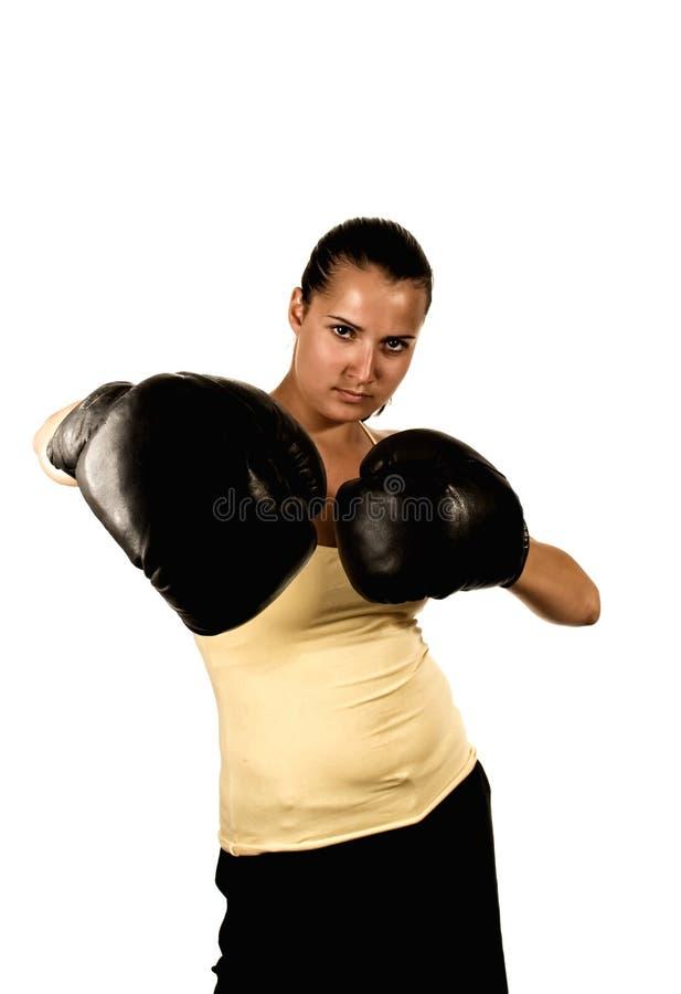перчатки девушки бокса стоковые фото