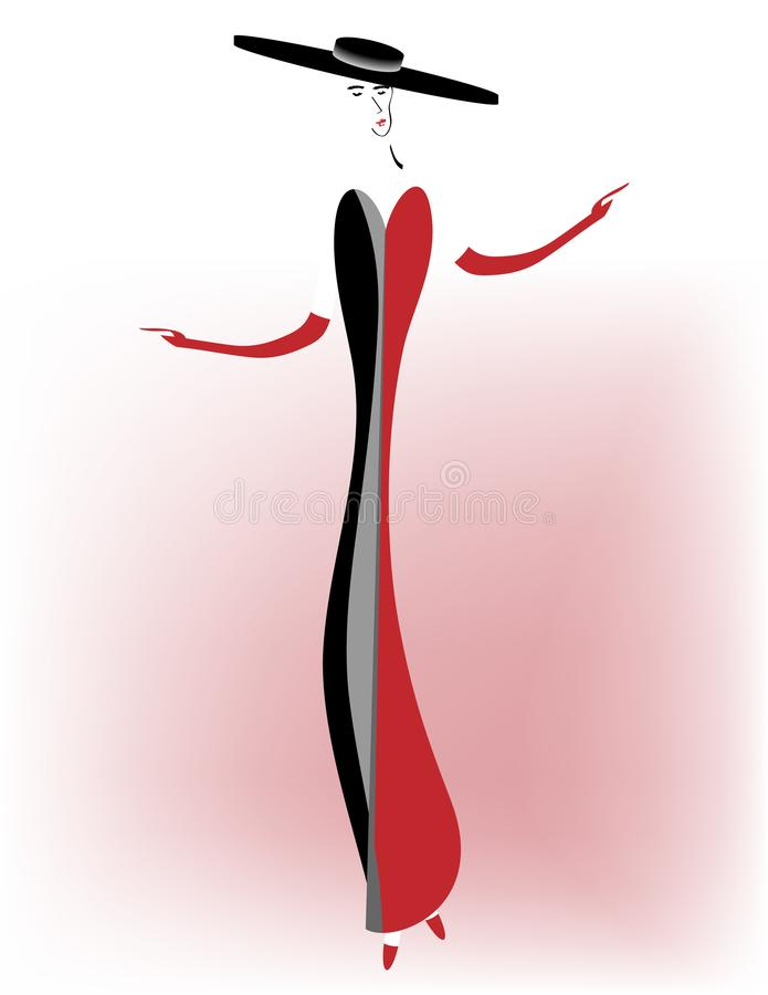 Перчатки и мантия элегантной женщины нося иллюстрация вектора