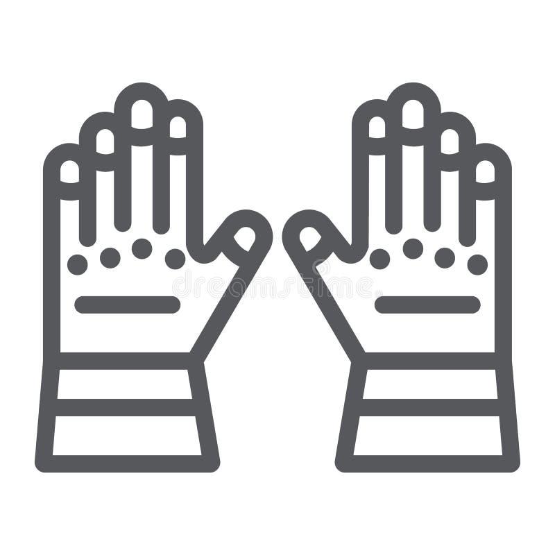 Перчатки пожарного выравнивают значок, одежды и защита, резиновые перчатки подписывает, векторные графики, линейная картина на бе бесплатная иллюстрация