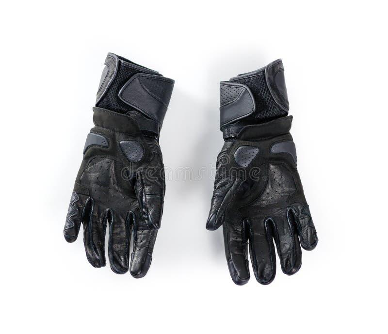Перчатки Moto спорта черные белизна изолированная предпосылкой стоковые фото