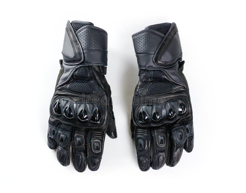 Перчатки Moto спорта черные белизна изолированная предпосылкой стоковые фотографии rf