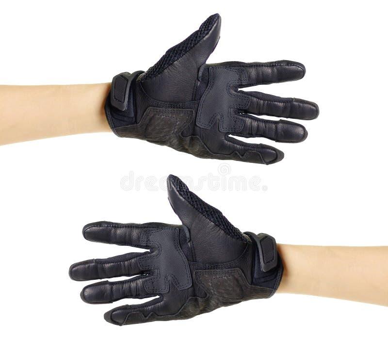 Перчатки Moto спорта черные белизна изолированная предпосылкой стоковая фотография