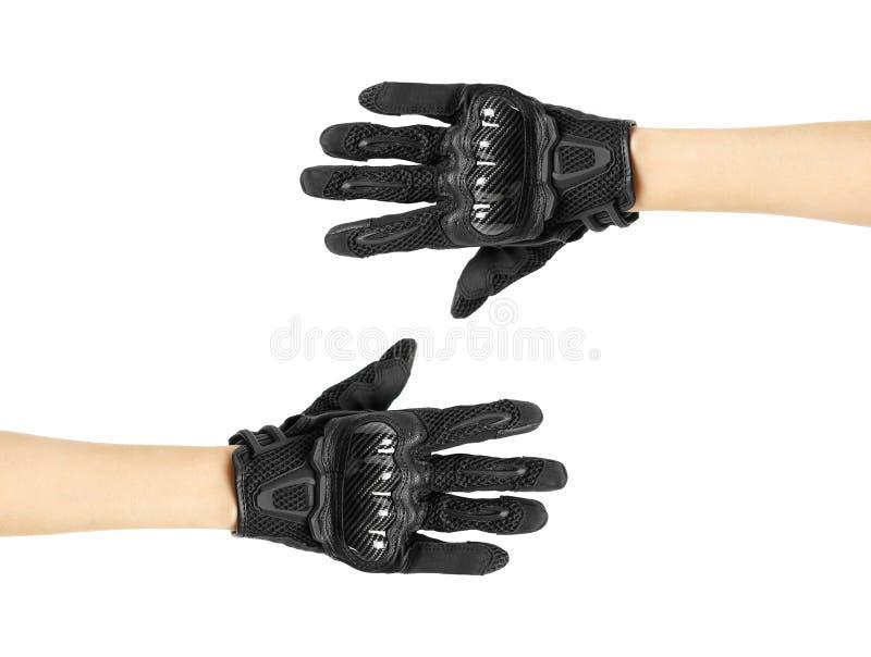 Перчатки Moto спорта черные белизна изолированная предпосылкой стоковое изображение rf
