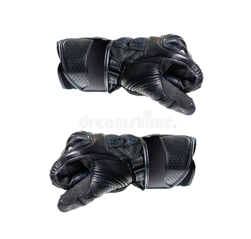 Перчатки Moto спорта черные 2 кулака в перчатках Изолировано на белизне стоковые изображения rf