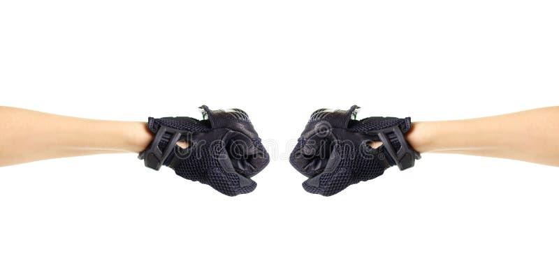 Перчатки Moto спорта черные 2 кулака в перчатках Изолировано на белизне стоковое фото rf