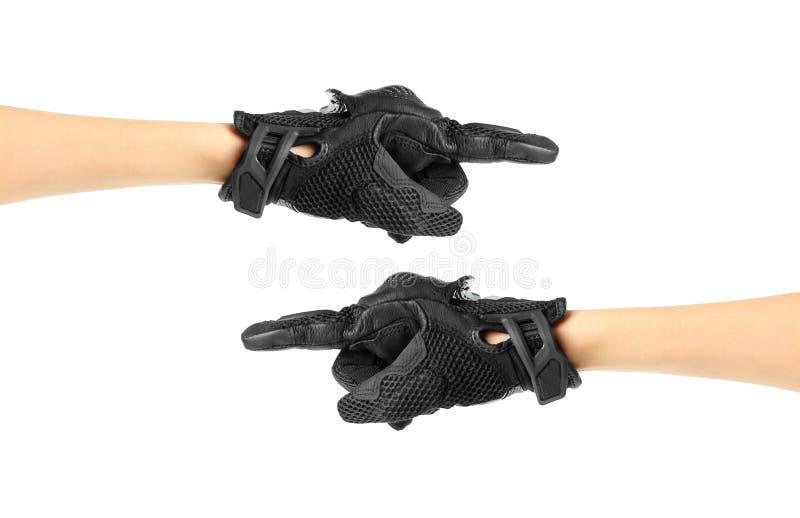 Перчатки Moto спорта черные Перчатка указывает справедливо и налево руки 2 стоковая фотография