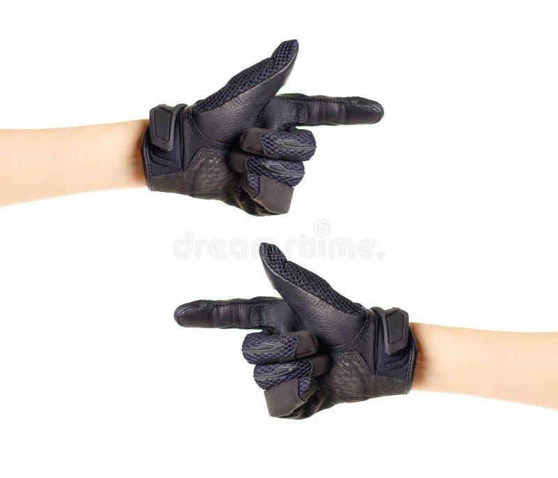 Перчатки Moto спорта черные Перчатка указывает справедливо и налево руки 2 стоковое фото rf