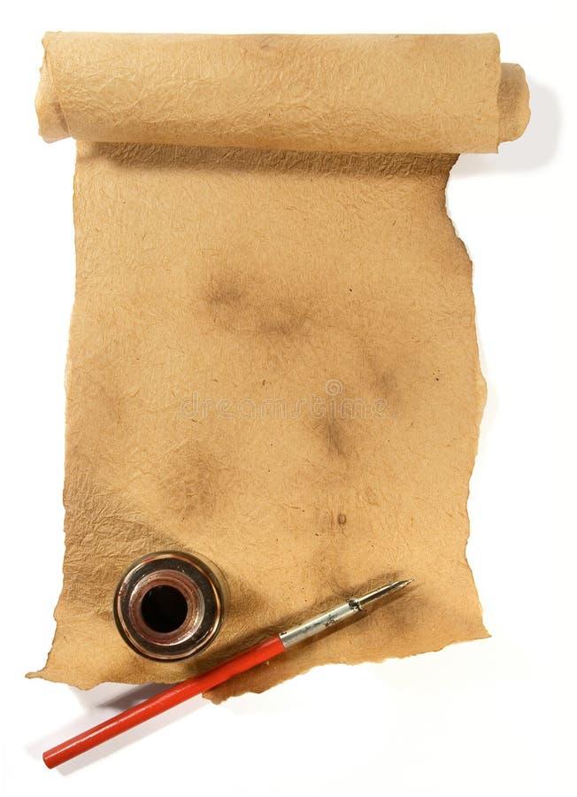 пер бумажного путя inkwell старое стоковое изображение