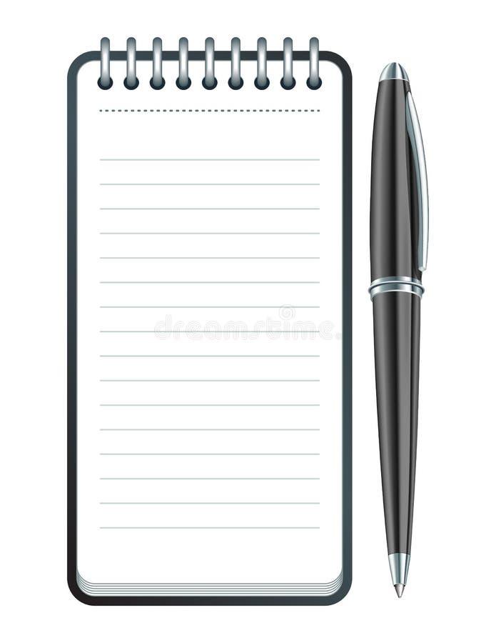 Пер вектора и икона блокнота иллюстрация вектора