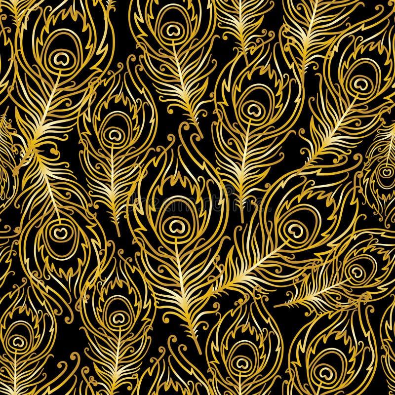 Пер павлина золота на черной предпосылке бесплатная иллюстрация