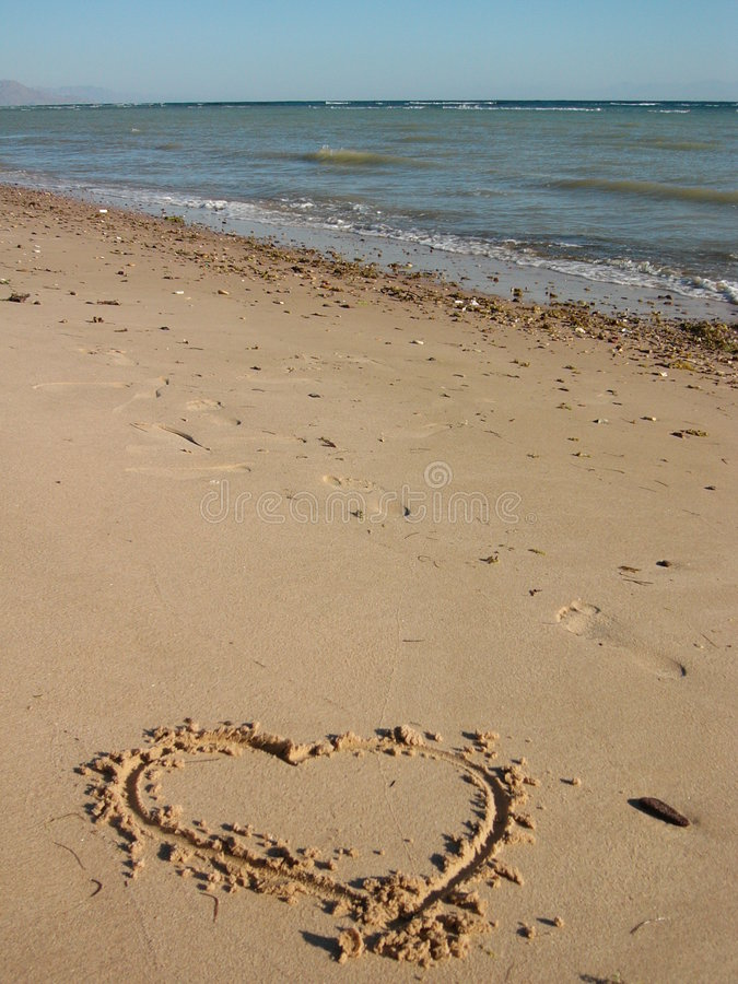 песок сердца поцарапал стоковое фото rf