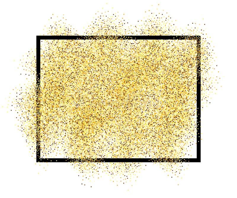 Песок яркого блеска золота в черной предпосылке изолированной рамкой белой Золотой confetti текстуры, sequins, брызги пыли яркая  иллюстрация штока