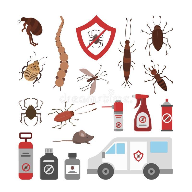 Пестициды и насекомые иллюстрация вектора