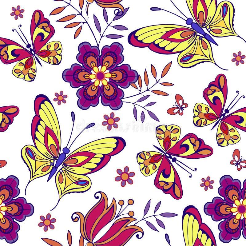 Пестротканая безшовная картина с цветками и бабочками Декоративный фон орнамента для ткани, ткани, упаковочной бумаги бесплатная иллюстрация