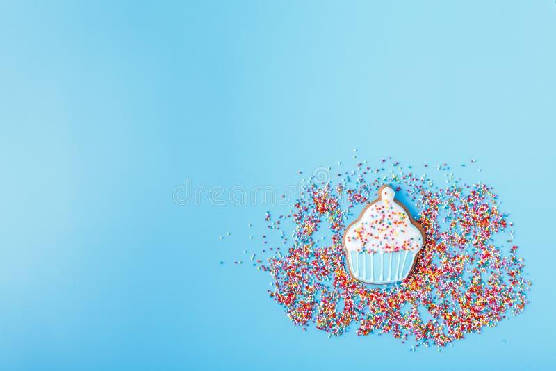 Пестротканая пасха украсила печенья на яркой голубой предпосылке стоковые фото