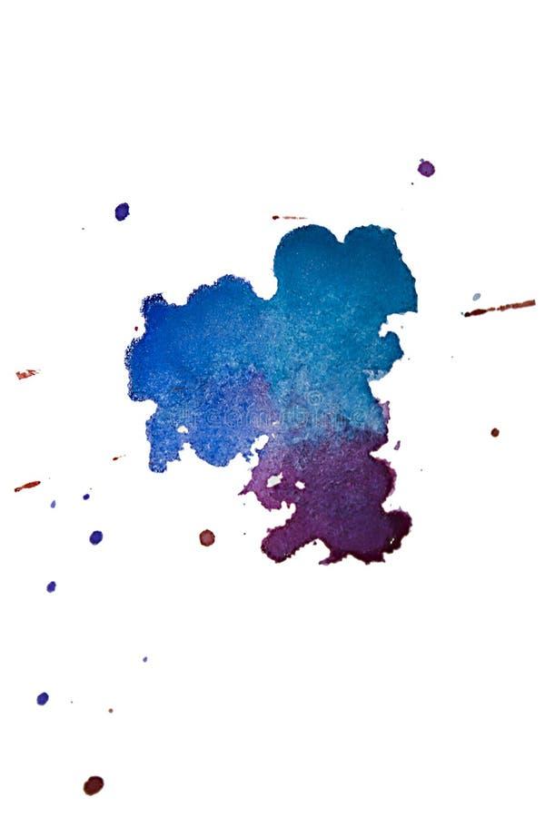 Пестротканая текстура выплеска акварели закрывает изолированную предпосылку Шарик, пятно и капельки Grunge нарисованные рукой Spl иллюстрация вектора