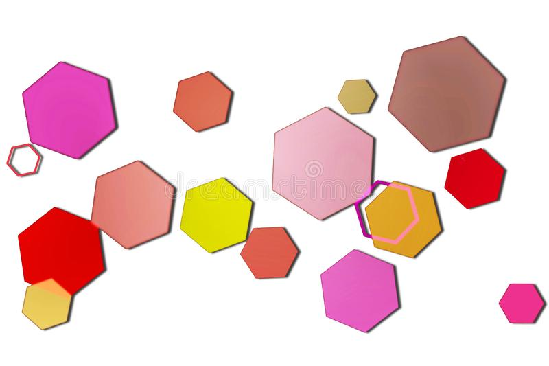 Пестротканое шестиугольное bokeh на белой предпосылке иллюстрация штока