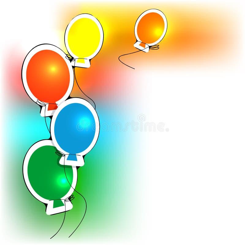 Пестротканые воздушные шары на белом векторе предпосылки иллюстрация вектора
