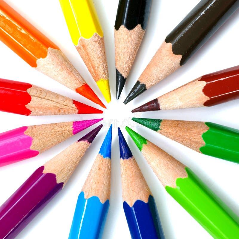 пестротканые карандаши стоковое изображение rf