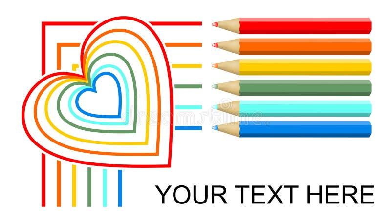 Пестротканые линии чертежа crayons и сердце monoline радуги, дизайн знамени на белой предпосылке 6 карандашей в красном цвете бесплатная иллюстрация