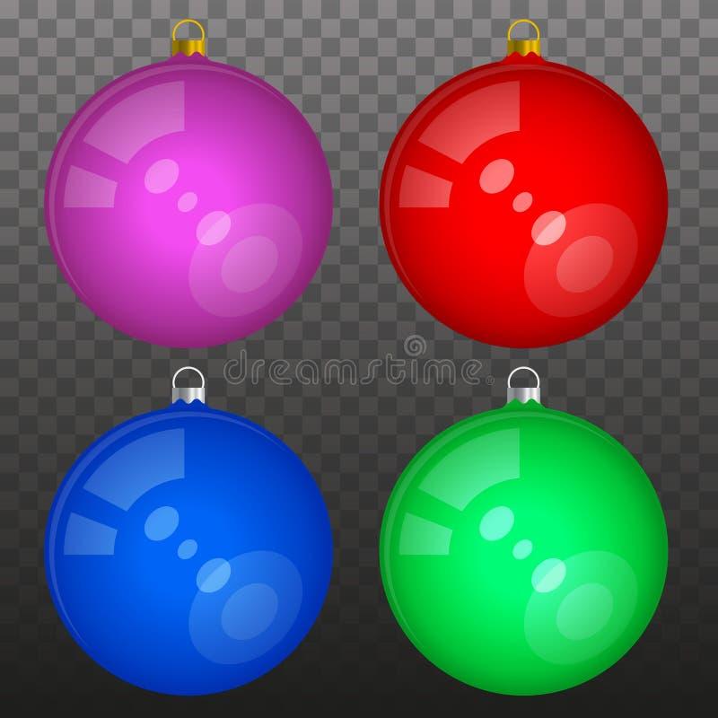 Пестротканые лоснистые изолированные шарики рождества иллюстрация вектора