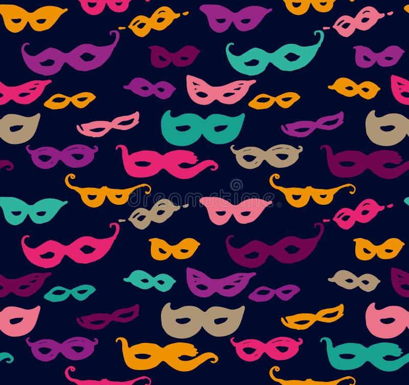 Пестротканые маски масленицы Безшовные маски масленицы картины притяжки руки бесплатная иллюстрация