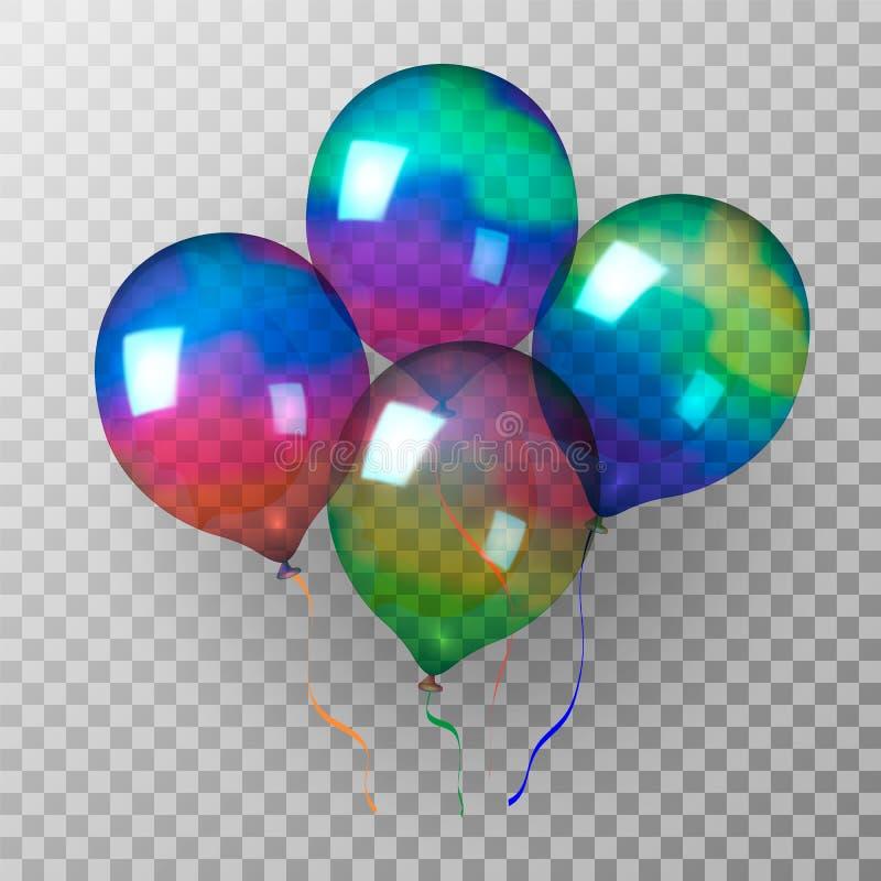 Пестротканые мерцающие прозрачные раздувные шарики также вектор иллюстрации притяжки corel иллюстрация штока
