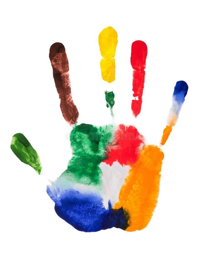 Пестротканые пальцы правой руки, фото на белой предпосылке Гуашь печати ладони в ярких цветах стоковое изображение rf