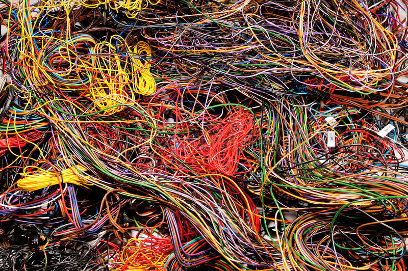 Пестротканые проводы стоковая фотография rf