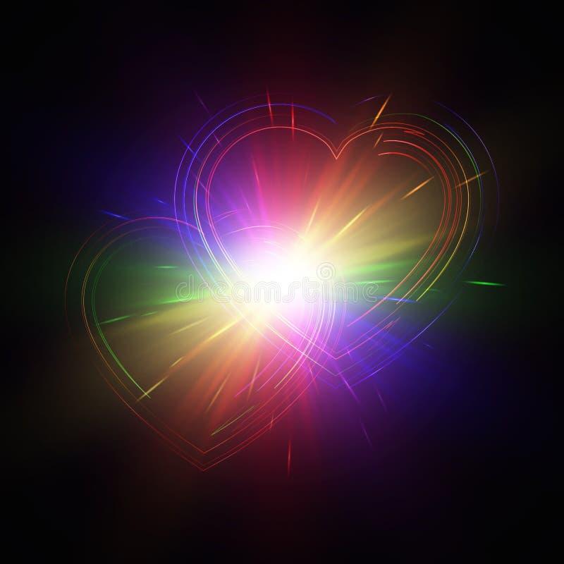 Пестротканые сердца на темной предпосылке иллюстрация вектора