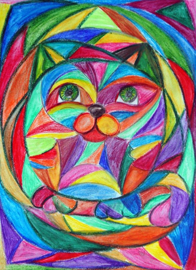 Пестротканый геометрический кот иллюстрация вектора