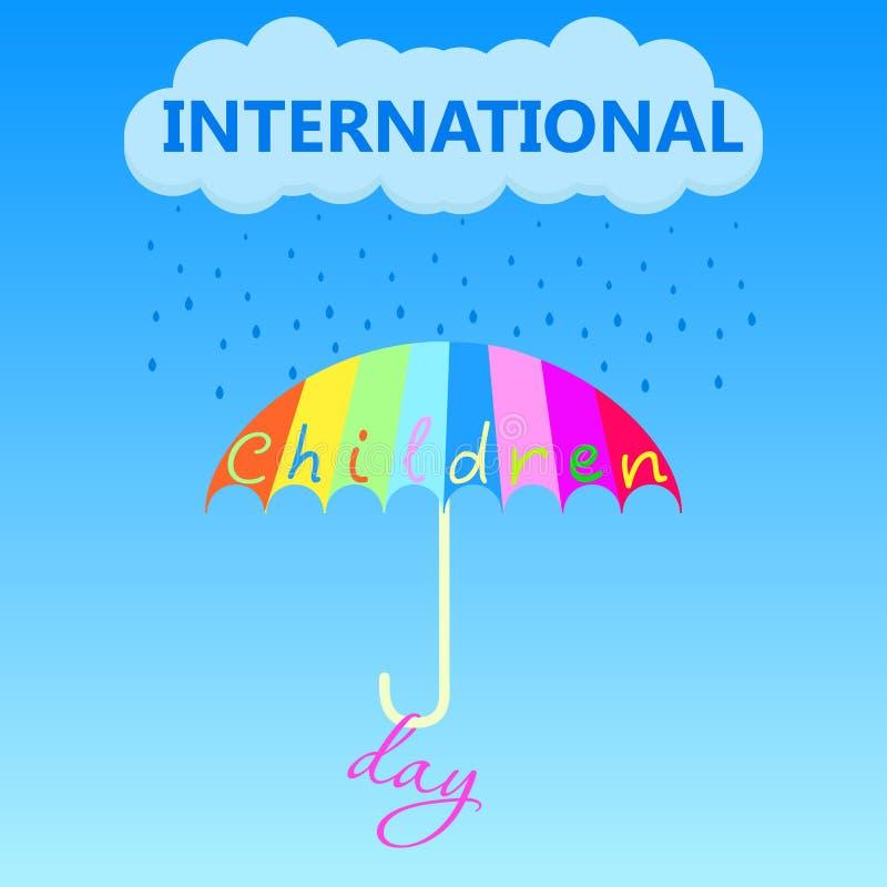 Пестротканый зонтик сохраняет от неясной погоды на празднике дня детей на первое -го июнь r бесплатная иллюстрация