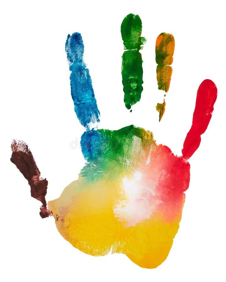 Пестротканый отпечаток пальцев правой руки, фото на белой предпосылке Гуашь печати ладони стоковое изображение