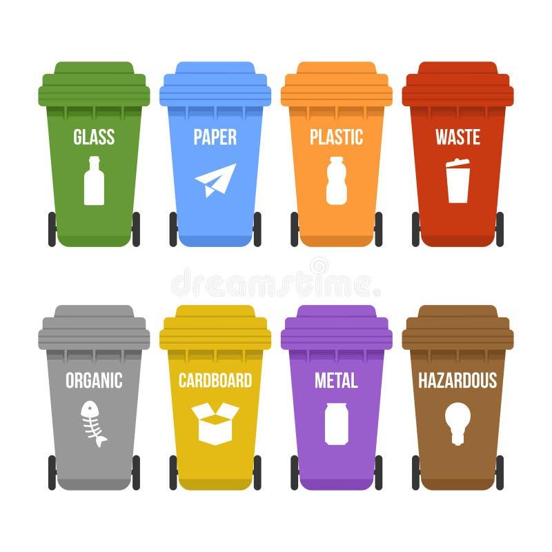 Пестротканый повторно используйте ненужные ящики на колесах для отдельного сбора мусора иллюстрация штока