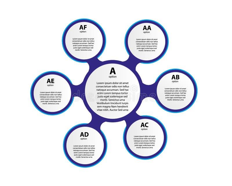 6 пестротканых круглых элементов с тонкой линией значками внутрь помещенными вокруг центрального круга Циклическая диаграмма с ко иллюстрация вектора