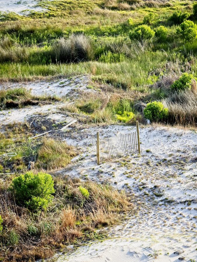Песчанные дюны обнесут забором AL берегов залива стоковая фотография