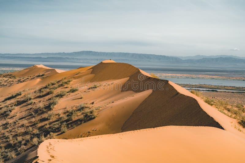 Песчанные дюны под голубым небом Пустыня Сахары, ранее, дома в деревне возвратила должное к движению песков стоковые изображения